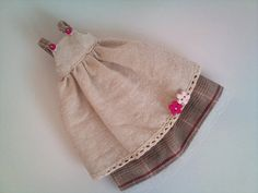 Beige pinafore dress and checked skirt for by RainbowDaisies