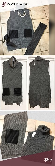 NWT Banana Republic faux leather pocket hi lo vest This darling tunic length vest is chic and mod with cowl neck hi lo split hemline- jest black faux leather pockets in a marled gray and black sweater! So cute with a warm fleece undershirt/ also available in my closet and faux leather pants  Banana Republic Sweaters Cowl & Turtlenecks