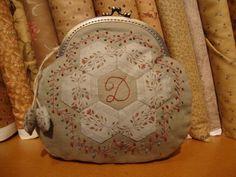 Beursje met Hexagonbloem Frame Purse, Art Bag, Hexagon Quilt, Bagan, Pouch, Wallet, Fabric Bags, Couture, Handmade Bags