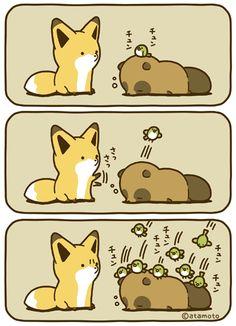 Cute Kawaii Animals, Kawaii Cute, Cute Fox, Cute Cats, Pusheen, Animal Doodles, Japanese Cartoon, Cute Stories, Anime Animals