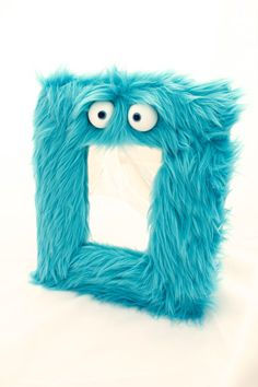 Teal Blue Monster Wall Mirror Kids Room Home by PuppetPieShop