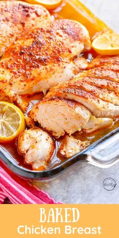 Baked chicken breast is easy and versatile, and you will make it on repeat. Tender, juicy, cooked to perfection. #baked #chicken