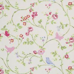 Prints Fabric - Bird Chintz Floral - Medium Fabric Pattern