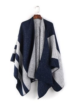 Winter Essential Navy Blue Grey Poncho Cape Jacket Scarf Blanket Scarf Casual Outfit Ideas #essentials