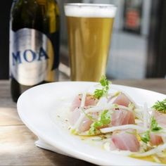 Kingfish Sashimi and Moa beer. Gorgeous summer dish in NZ