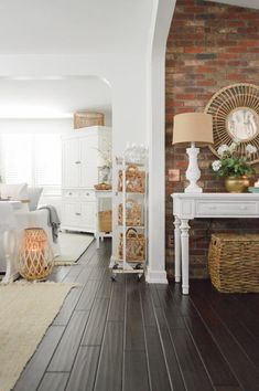 Early Spring Home Decorating Ideas - Fox Hollow Cottage Home Tour - Simple, Affordable Seasonal Updates #springhometour #springdecoratingideas #simplehome #easydecoratingtips Spring Home, Early Spring, White Console Table, Bright Decor, Ceiling Decor, Cottage Homes, Simple House, House Tours, Living Spaces