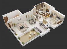 A wide open kitchen, dining, and living room keeps this layout feeling huge and modern.