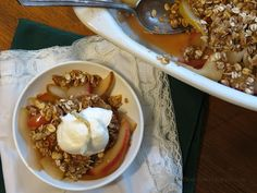 ... cream and a strip of candied ginger top this Gingered Apple-Pear Crisp