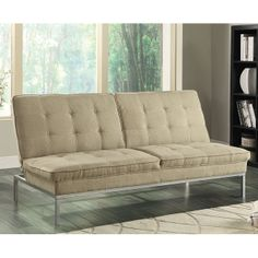 Perfect for small spaces, this Sofa Bed by Coaster Furniture features tufted back and seat cushions and powder coated silver finished legs. The oat colored linen-like material is easy to match with.