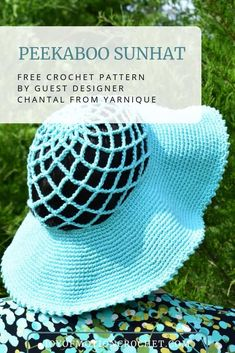 Crochet Sunhats free crochet pattern by Yarnique. Crochet Sunhat Pattern free for summer. Crochet sunhat for kids perfect for warm weather. American girls sunhat for summer made with cotton yarn. Sunhat that makes shadow for the sun, crochet hat tutorial. Quick Crochet, Love Crochet, Single Crochet, Knit Crochet, Crochet Hats, Knit Hats, Crochet Clothes, Beanie Hats, Crochet Hat Tutorial