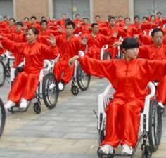 Wheelchair tai chi chuan is a practice in China