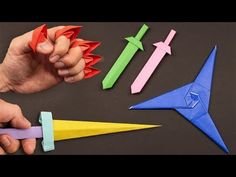 How To Make a Paper Ninja Star (Shuriken) - Origami Ninja Star Origami, Paper Ninja Stars, Origami Star Box, Shuriken, Origami Sword, Origami Weapons, Origami Knife, Origami Simple, How To Make Origami