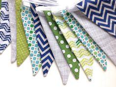 Banner Fabric Bunting, Photography prop, Boy Nursery Decor, Boys Room Decor, Playroom Decor // by Bobbin's Lullaby