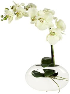 Single Stem Modern Yellow Faux Orchid in White Ceramic Pot #interior_design #home_accessories See more http://www.eurostylelighting.com/home+accessories-category/search.htm