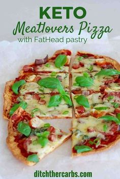 Keto meatlovers pizza with FatHead pastry is the most delicious pizza I have ever made. Low carb, grain free keto pizza heaven.   ditchthecarbs.com via @ditchthecarbs