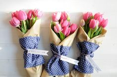 Pink tulip bouquets for may day