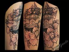 Bird Cage Rose Black Grey Arm  - Tattoo By Nina Gaudin of 12th Avenue Tattoo in Nampa, ID