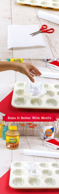 It's time to make some homemade cupcakes or muffins, and you are out of pre-cut baking liners. Just cut out small squares of plain parchment paper and use a drinking glass to form them to the baking sheet. It's a cheap, easy way to keep your oven warm with goodies.