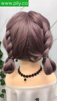 Braids For Short Hair, Cute Hairstyles For Short Hair, Braided Hairstyles, Black Braids, Medium Hair Styles, Short Hair Styles, Hair Upstyles, Kawaii Hairstyles, Hair Videos