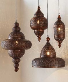 Moroccan Hanging Lamp - Antique Copper Finish Pricey lanterns from Viva Terra Moroccan Hanging Lanterns, Moroccan Lighting, Moroccan Lamp, Moroccan Chandelier, Moroccan Theme, Rustic Chandelier, Moroccan Style, Chandeliers, Bohemian Style Home