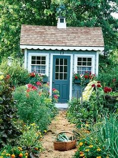 A garden shed provides a fantastic place to house your gardening tools and supplies, not to mention creating a beautiful focal point to your backyard. 12 Simple Potting Shed renovated ideas for your backyard outdoor space House Ideas, Garden Cottage, Home And Garden, Cozy Cottage, Farmhouse Garden, Romantic Cottage, Garden Living, White Cottage, Cottage House