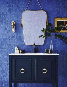Love's article on The bathroom trends you'll see everywhere in  Featuring our Cleo vanity 💙  Styling  Photography As seen in  Next Bathroom, Blue Bathroom Decor, Boho Bathroom, Bathroom Styling, Modern Bathroom, Bathroom Wallpaper Trends, Bathroom Trends, Large Bathrooms, Chic Bathrooms