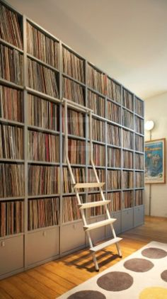 Record Collection Shelves: I actually KNOW of someone who has one that looks JUST like this...yes, ALBUMS.