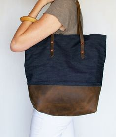 The best heavy duty carry all tote in denim and leather - Mills Tote