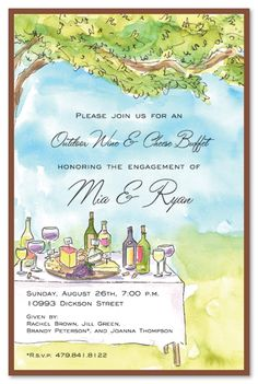 Engagement Party Invitations, Outdoor Vineyard Classic i could do a custom sketch