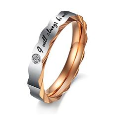 * Penny Deals * - Fashion Plaza Women's Stainless Steel Ring with Engaved Words I will be always with you TR7-5 -- Want additional info? Click on the image.