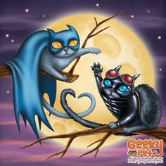 Batcat and Catwoman - 8x8 art print - Batman cat and Catwoman cat have a love hate relationship in front of a full moon