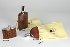 #Exclusive Leather #Flasks - Hand made in Italy