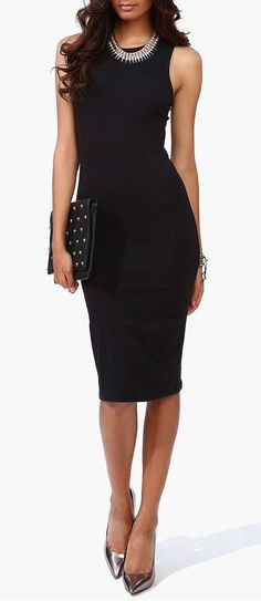Fashion trends | Chic black dress, heels, necklace, clutch For similar items, please visit http://www.fashioncraycray.xyz/