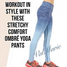 Stylish Ombré Fold Over Yoga Pants - Denim One of my best sellers! Work out in style with these stretchy comfortable luxury ombré denim colored yoga pants. Reinforced stitching for leg and tummy control. Size Small fits a 2-4 Medium fits 6-8 large fits 10-12 and XL fits 14-16. Price is firm. Customers love these! Very well made, stretchy and high quality. Control the waist height with the fold over design. Check out my other listings for more sizes and colors! All sizes fit most heights…