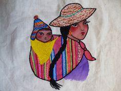 mamachola y bebé en el aguayo  inspirado en mi viaje a las tierras altiplánicas bolivianas