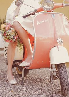 Ride a Vespa off with your groom!