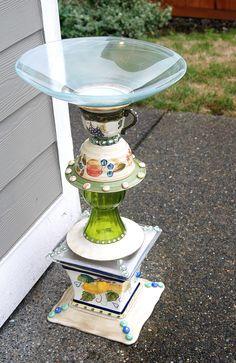 SOLD - recycled glass, birdbath created by Karen Talbot SOLD