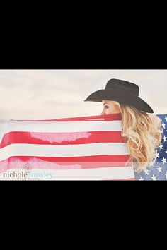 Cowgirl with American Flag photo shoot