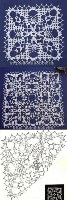 Openwork motifs for knitting tablecloths or napkins