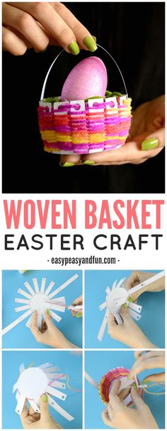Cute Woven Easter Basket Craft for Kids to Make