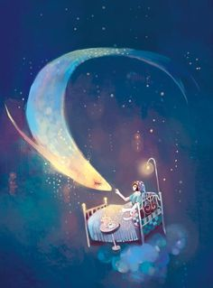 """""""Moon, moon / swimming through the dark / are you a planet, are you a fish? Nocturne, Pintura Graffiti, Moon Illustration, Good Night Moon, Beautiful Moon, Illustrations, Moon Art, Moon Moon, Conte"""