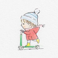 Sweet Drawings, Cute Cartoon Drawings, Art Drawings For Kids, Doodle Drawings, Art Drawings Sketches, Doodle Art, Easy Drawings, Children Drawing, Children's Book Illustration