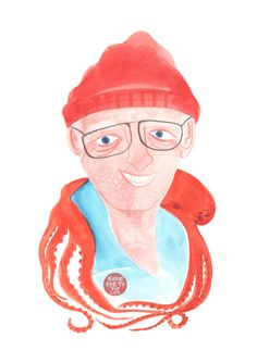 Many hours exploring the deep seas has helped Jacques overcome his fear of cephalopods. Jacques Cousteau, Man Go, Deep Sea, Under The Sea, Caricature, Disney Characters, Fictional Characters, Coastal, Kids Room