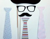 Tie, Glasses, and Mustache Props for Wedding Photo Booth