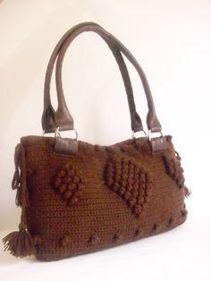 Brown  color Crocheted Handbag afghan crochet by modelknitting, $79.00