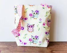 Owl Tote Bag, Pastel Owls, Toddler Tote, Book Bag, Pink Polka Dots, Summer Purse, Girls Purse,