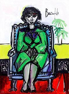JEAN-LUC BEAUFILS (Né en 1953) Femme à la robe verte Huile sur toile Signée en haut à droite 65 x 50 cm. Estimé 3000€-4000€ et mis en vente chez Osenat le samedi 27 juin 2015 à Fontainbleau Fontainebleau, Joker, Mood, Green, Fictional Characters, Green Gown, Oil On Canvas, June, Top