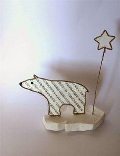 Ours polaire sur sa banquise en découpe de papier collée sous du kraft armé - création Epistyle - (scrap Animaux + Hiver)