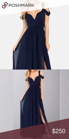 Navy Cold Shoulder Prom Dress Stunning floor length prom dress or gown, navy blue with chiffon fabric. Perfect for last minute dress (not from listed brand) Faviana Dresses Prom