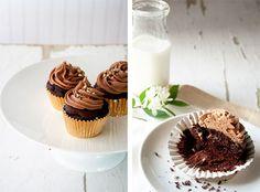 Ferrero Rocher cupcakes with Nutella ganache filling and chocolate hazelnut buttercream